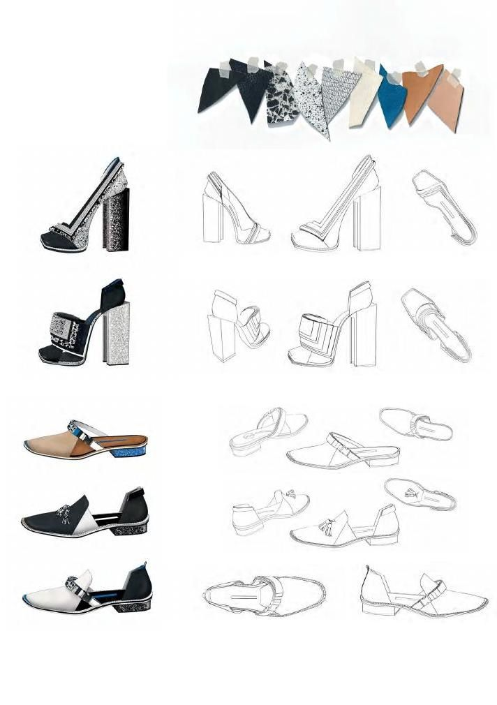 Fashion Sketchbook - footwear design drawings, colours & fabrics; fashion portfolio // Yu Jung Lee