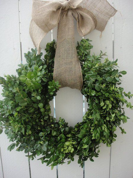 Burlap and Dried Boxwood Wreath - so perfect for spring!