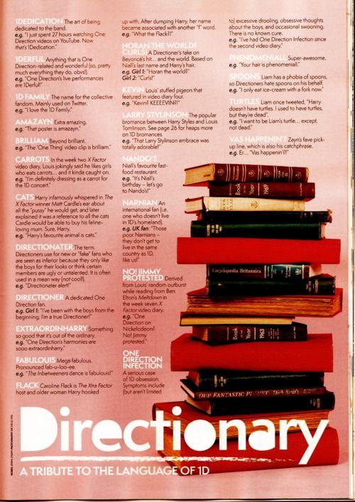 Our Bible: 1D Lingo, 1Dictionary, 1D Board, Basics Now People, 1D Dictionary, Direction 3Myboys 3, Directionary Anna, Directionary Already Knew