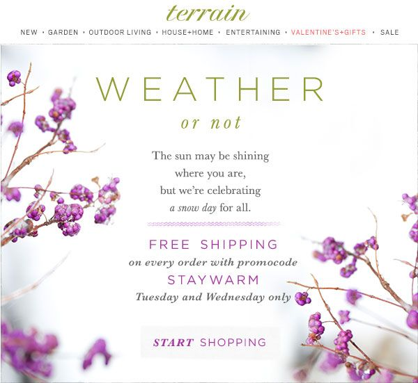 Whatever the #weather, a #snowday treat for all! Enjoy #free #shipping on every order at @shopterrain January 27