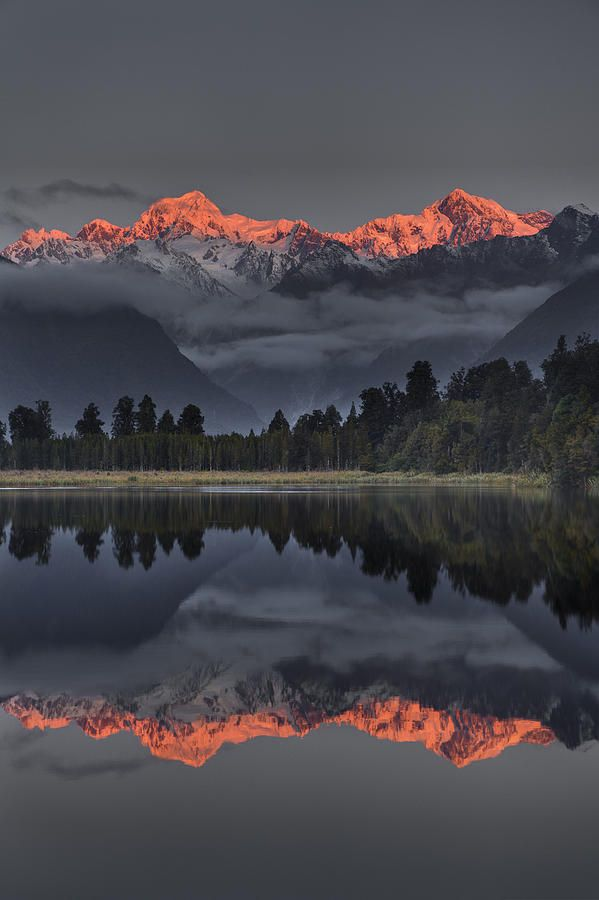 Sunset Reflection Of Lake Matheson, with Mount Tasman and Mount Cook, NZ, by…