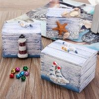 DÉCORATIONS DE PLAGES Wish | Cute Sea Style Jewelry Display Wooden Case Ring Necklace Earring Storage Box Gifts