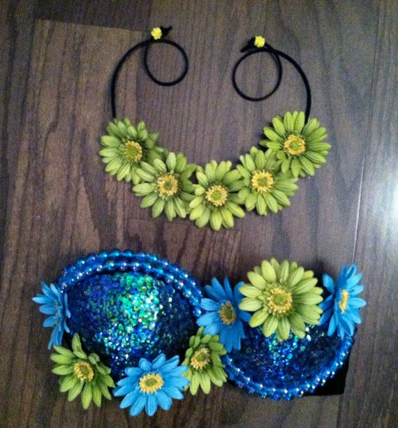 Design your own Rave Bra Electric Zoo Festival by BrittsBlossoms