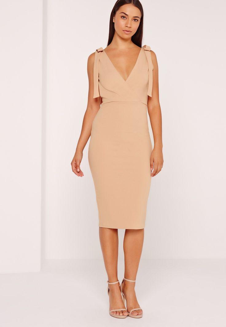 Missguided - Tie Shoulder Midi Dress Nude