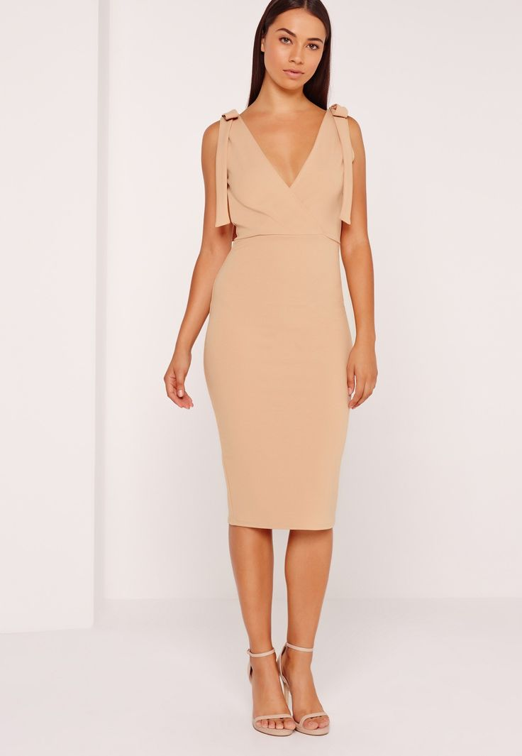 Missguided - Tie Shoulder Midi Dress Nude