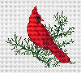 Free Cross Stitch Patterns by AlitaDesigns: New Cardinal Free Cross Stitch Pattern