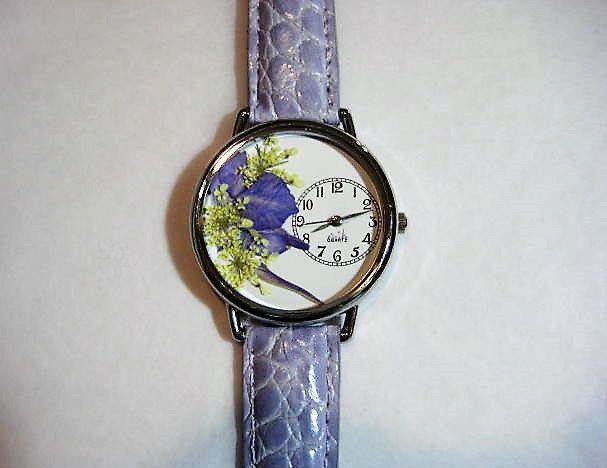 Floral Watch, Women's Watch, Wrist Watch Leather, Queen Anne Lace, Purple Watch, Pressed Flower Watch, Bridesmaid Gift Watch, Quartz Watch by PurplePetalStudio on Etsy