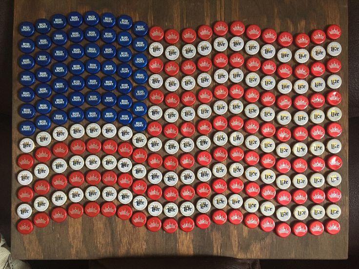 American flag bottle cap art – #American #art #Bot…