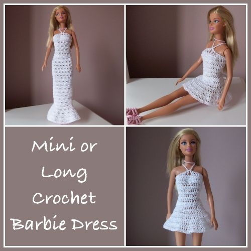 Barbie doll dress.Instructions are given for both a mini and long dress that flare out at the bottom. Both dresses are easy to crochet prov...