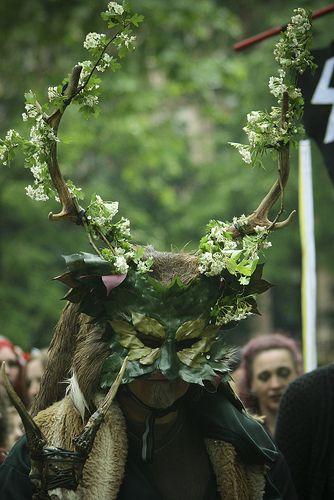 Man wearing Green Man mask - Beltane bash, Russell Square London @Marc Hudgins