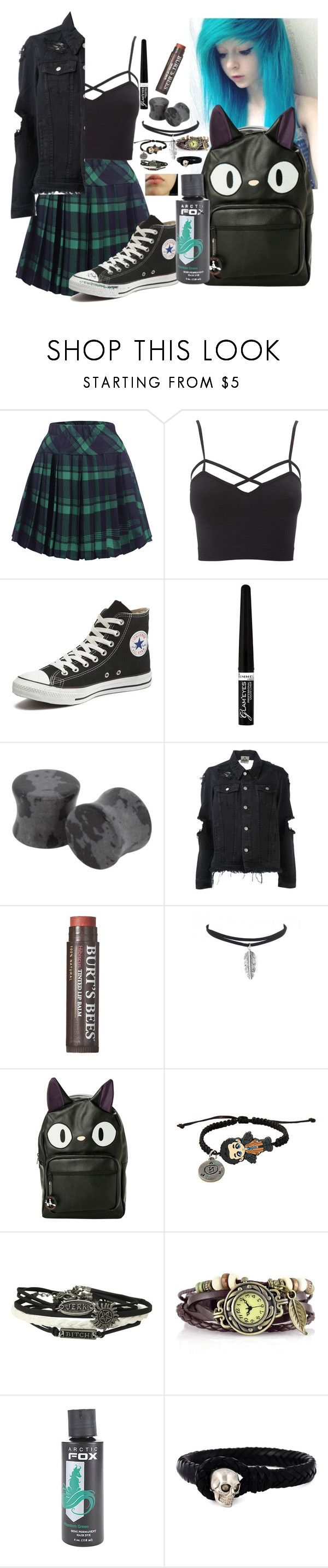 """Punk/Emo/dressy"" by hold-on-til-may ❤ liked on Polyvore featuring Charlotte Russe, Converse, Rimmel, UNIF, Burt's Bees, Ghibli, Hot Topic, Alexander McQueen and plus size clothing"