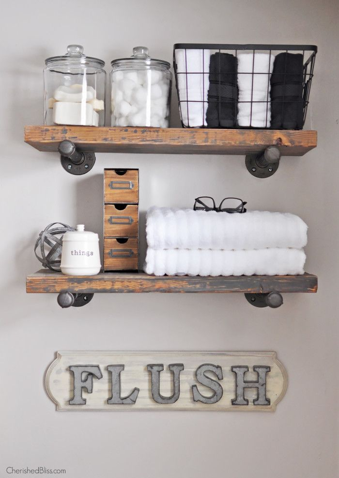 Create this adorable DIY Industrial Farmhouse Bathroom Sign with this easy  to follow tutorial Best 20  Floating shelves bathroom ideas on Pinterest   Bathroom  . Diy Small Bathroom Decor Pinterest. Home Design Ideas