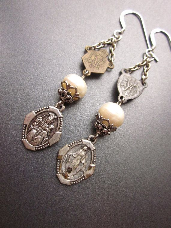 Religious Assemblage Earrings with Vintage Medals and Pearls
