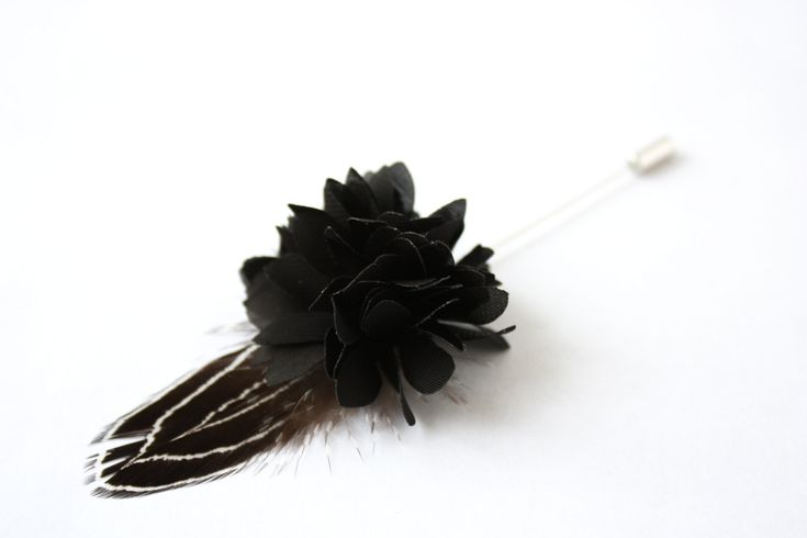 Flower and Feather Lapel Pin - Wedding Boutonniere - Black Dahlia Flower and black silver pheasant lewis feather - Dapper Men Wedding Groom by TheGreyDeer on Etsy