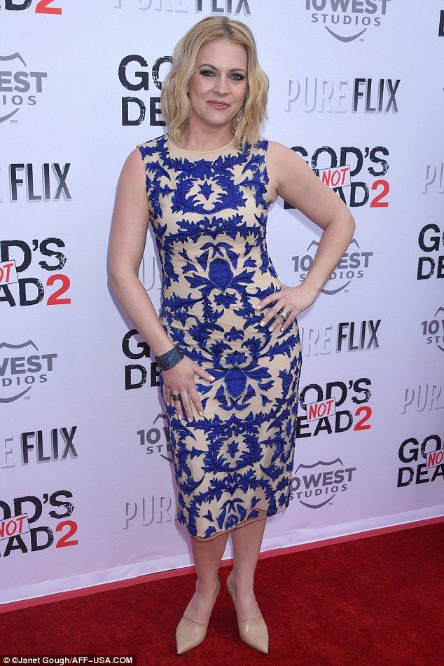Brilliant in blue! Melissa Joan Hart, 39, attended the Los Angeles premiere of God's Not Dead 2 on Monday