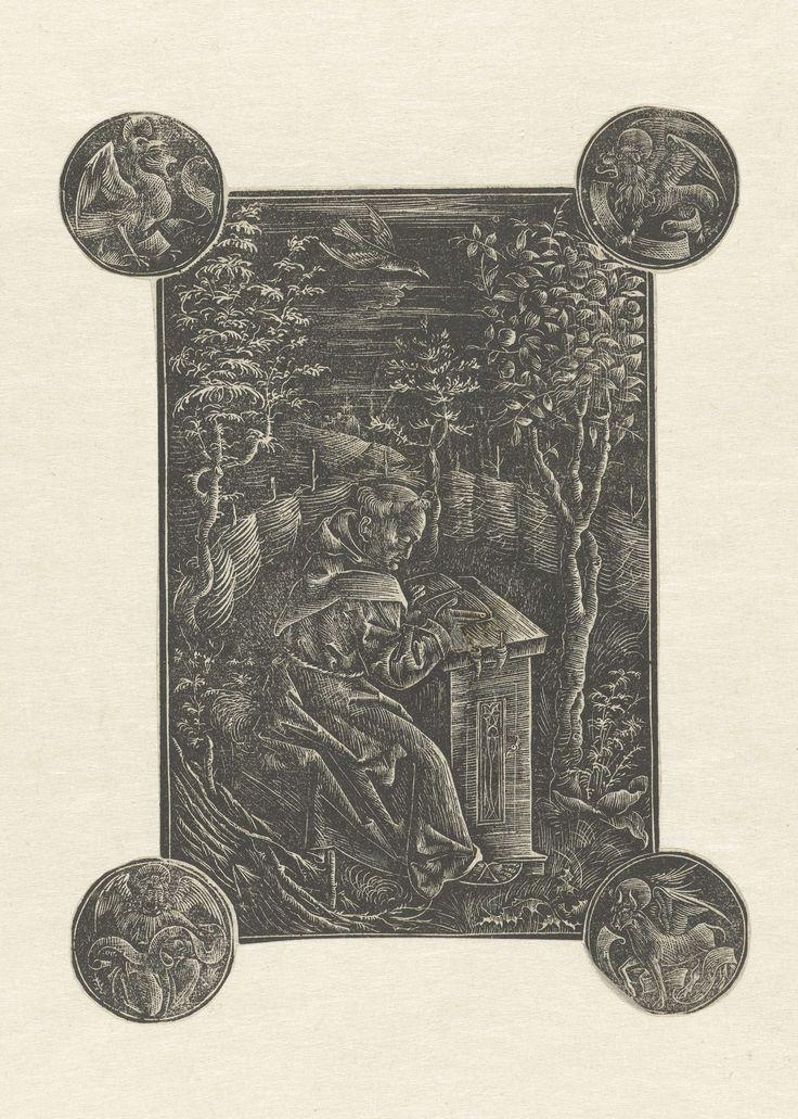 Anonymous   De Franciscaner monnink Ossváld Pelbárt (Pelbartus) in een tuin en de vier evangelistensymbolen, Anonymous, 1497 - 1507   De Franciscaner monnink Ossváld Pelbárt (Pelbartus) zit aan een lessenaar te lezen in een omheinde tuin. Aan de vier hoeken van de voorstelling vier cirkels met de symbolen van de evangelisten.