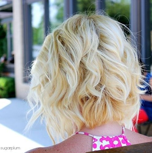 Blonde Bob Hairstyle for Curly Hair