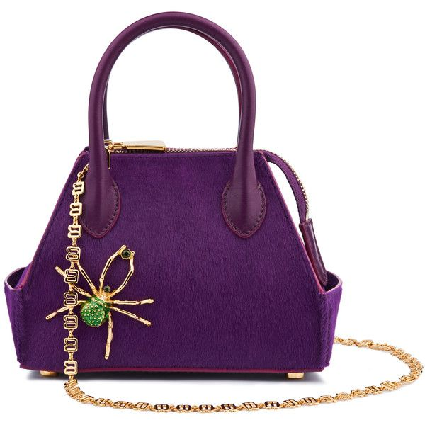La Perla Bags Violet Pony Skin Mini Ada Bag with Spider Embellishments ($2,400) ❤ liked on Polyvore featuring bags, handbags, purple purse, holiday handbags, mini handbags, purple handbags and zip purse