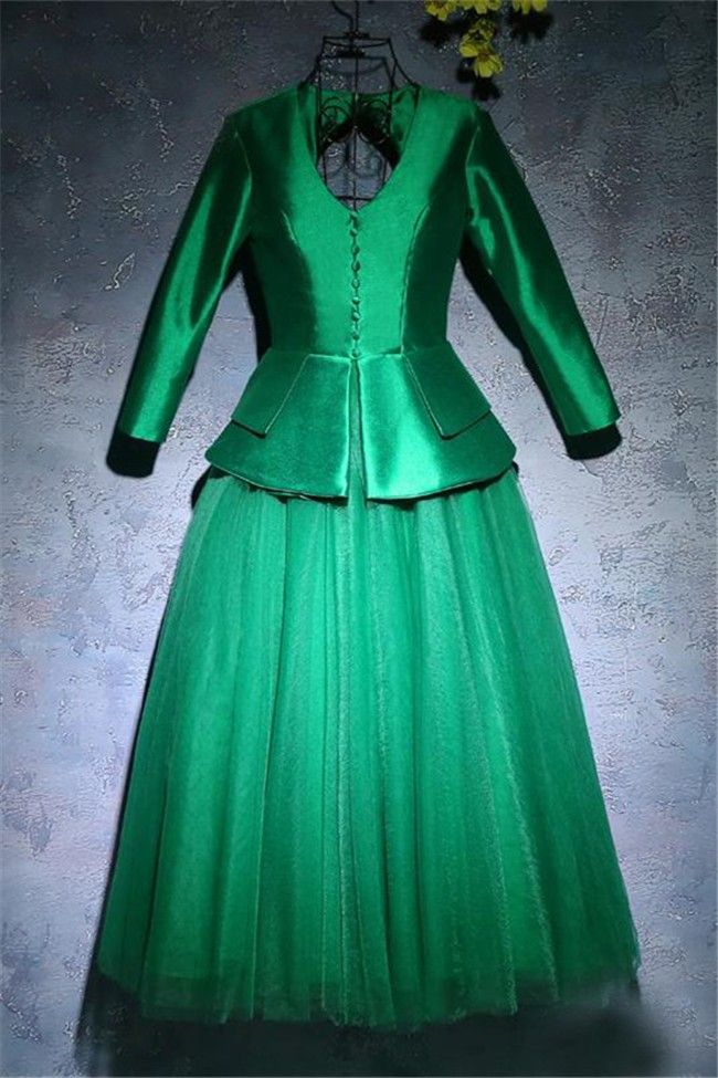 Vintage A Line Open Back Long Sleeve Emerald Green Tulle Satin Peplum Prom Dress