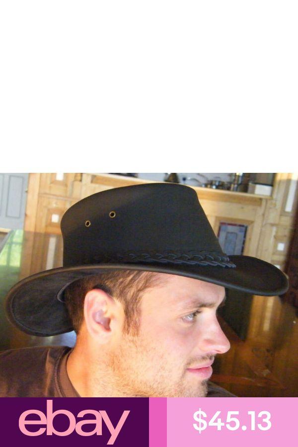 Leather Hat New Original Classic Australian Genuine  Bute Bush Black S M L XL