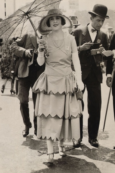 Fashion at Royal Ascot, 1925 (b/w photo) An example of the robe de style in a day dress.