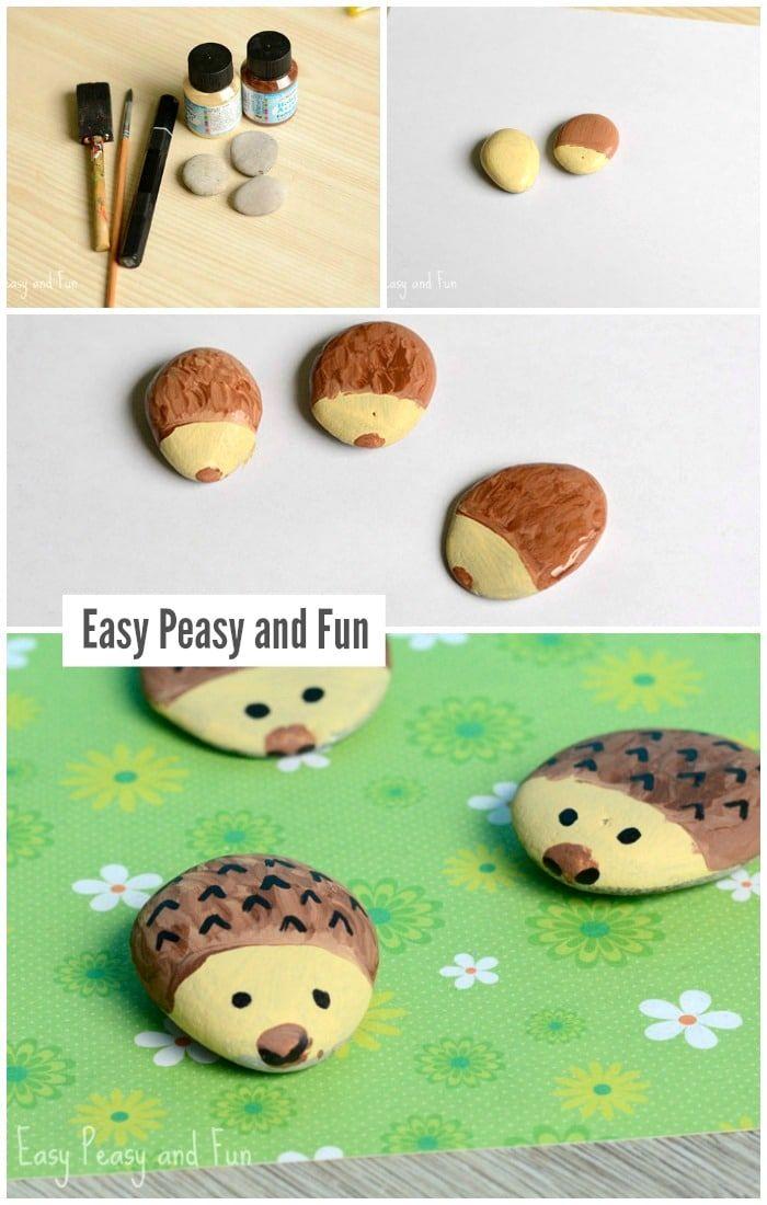 Hedgehog Painted Rock Art for Little Ones