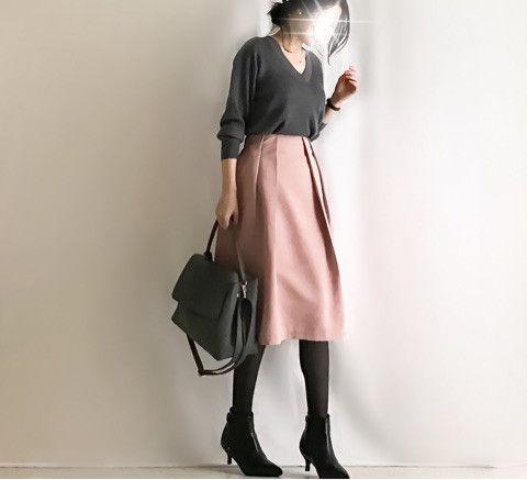 【coordinate】GU春ピンクスカート×UNIQLOニットコーデ の画像|Umy's プチプラmixで大人のキレイめファッション