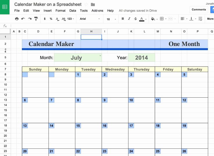Calendar template google docs spreadsheet unique google