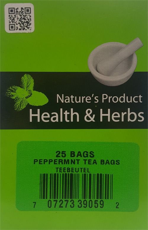 Natures Product Health & Herbs Peppermint Tea Bags Teebeutel 25 Bags