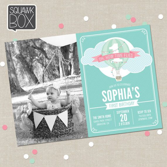 First Birthday Invitation Set for Boys or Girls in Hot Air Balloon Theme, Printable Invitation and Thank You Card by Squawk Box Studio