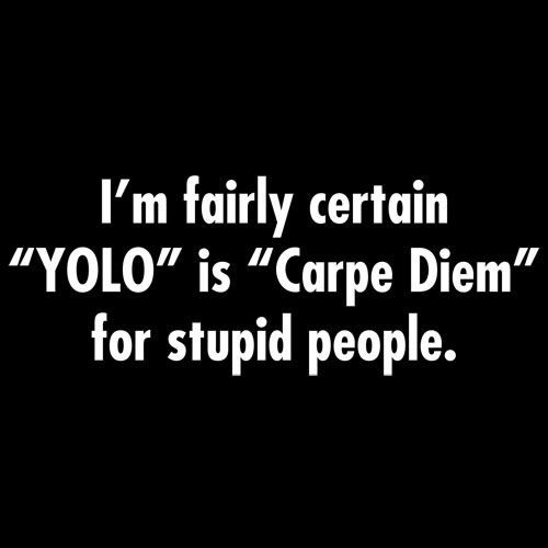 """I'M FAIRLY CERTAIN """"YOLO"""" IS """"CARPE DIEM"""" FOR STUPID PEOPLE T-SHIRT (WHITE INK)"""