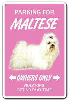 MALTESE Novelty Sign dog pet parking signs gift toy vet lover breeder groomer