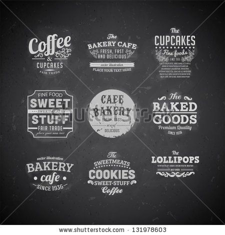 Set of retro bakery labels, ribbons and cards for vintage design, Chalk typography design on blackboard - stock vector