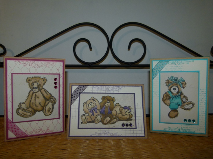I love the Kaszazz Teddy stamps and recently created this 3 card workshop with our new Kaszazz Alcohol Ink Art Markers. Created by Cheryl Devlin - Independent Kaszazz Consultant www.cheryldevlin.com