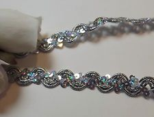 Silver Sequin Braid Lace Trim 15 mm#2SR35C 1 METRE