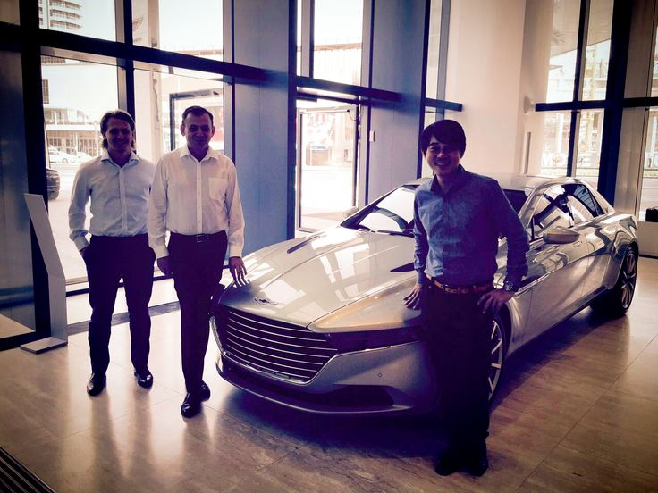 Visiting the Aston Martin Showroom in Dubai to showcase Audiomoda's luxury home audio system, the Aston Martin Zygote. | Audiomoda's fantastic sales team together with the General Manager of Aston Martin Dubai in front of the exclusive luxury car Aston Martin Lagonda