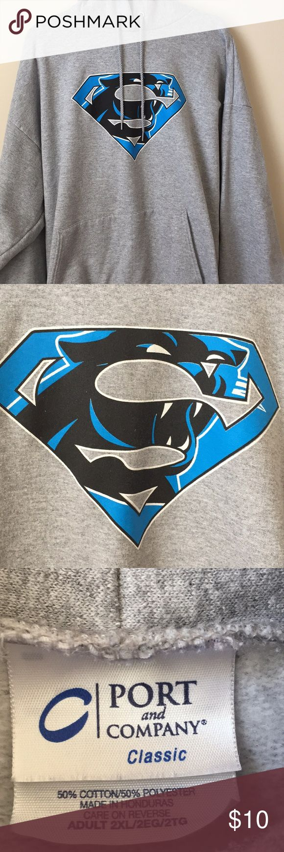 Cam Newton Carolina Panthers hoodie 2XL Carolina panthers Cam Newton superman hoodie. In very good condition. It does have a dark line, see picture. It looks like it could've been a pencil mark. But it is not a stain or mark it's just a dark spot in the fabric. Shirts Sweatshirts & Hoodies