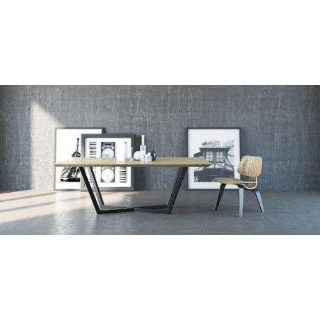 TAVOLO elegant designer dining table made of oak and steel