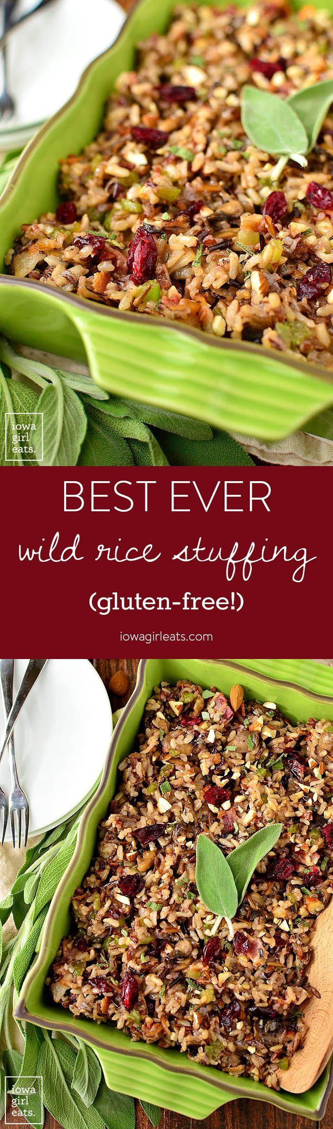 Best Ever Wild Rice Stuffing is full of fall flavors like herbs, bacon, mushrooms, parmesan, dried cranberries, almonds, and garlic. A delicious side for the holidays! | iowagirleats.com (Autumn Baking Gluten Free)
