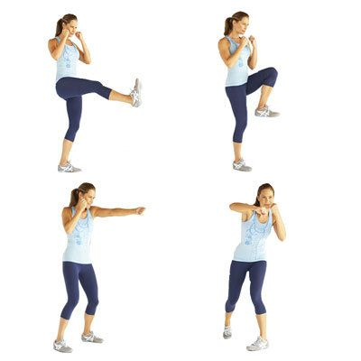 Combo drill - To add a cardio blast to this strengthening routine, put on some fast-paced music and match the beat while you punch, pivot, and kick your way through this sequence. | Health.com