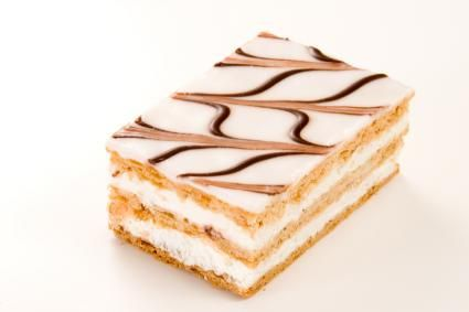 Napolean dessert Ingredients •1 sheet frozen puff pastry the size of a cookie sheet •1 package vanilla pudding •8 ounces semi-sweet chocolate •8 ounces heavy cream