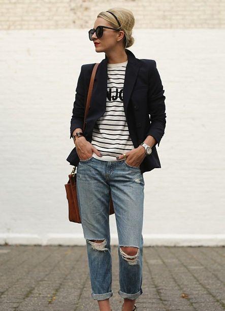 a blazer to dress up a t-shirt  jeans