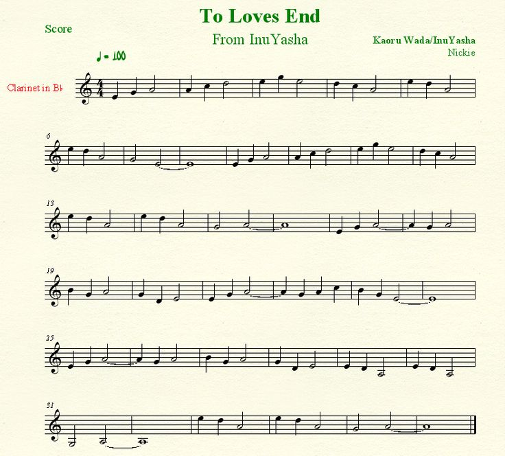 To Loves End, InuYasha, sheet music