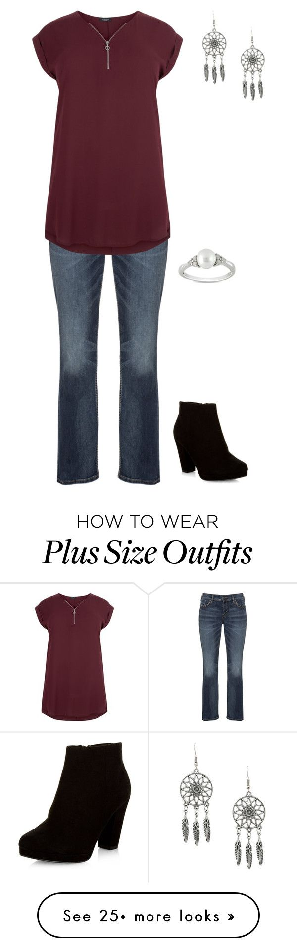 """""""Plus size"""" by jessiemt on Polyvore featuring Silver Jeans Co., New Look and Ice"""