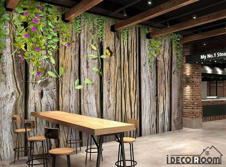 Wooden Wall With Green Leaves Restaurant Art Wall Murals Wallpaper Decals Prints Decor