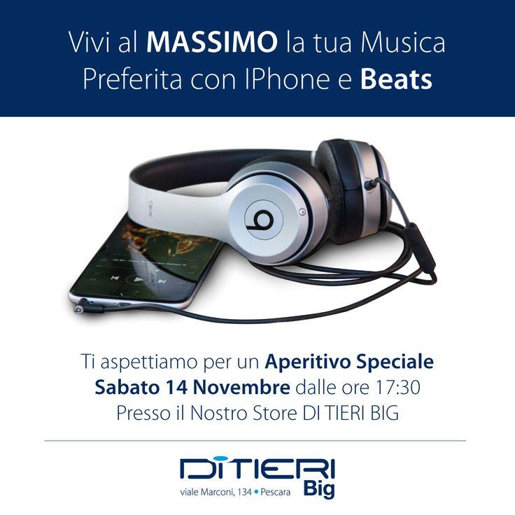Con #iPhone e #Beats le sorprese non finiscono mai...  Vi aspettiamo domani per un Aperitivo Speciale a partire dalle 17.30 presso il nostro Store #DiTieriBIG di Viale Marconi, 134 a Pescara.