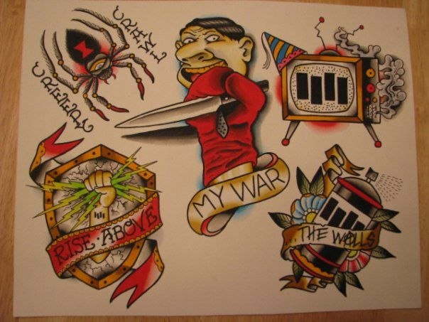 Dave Woodard Black Flag Tattoo Flash - Rise Above!