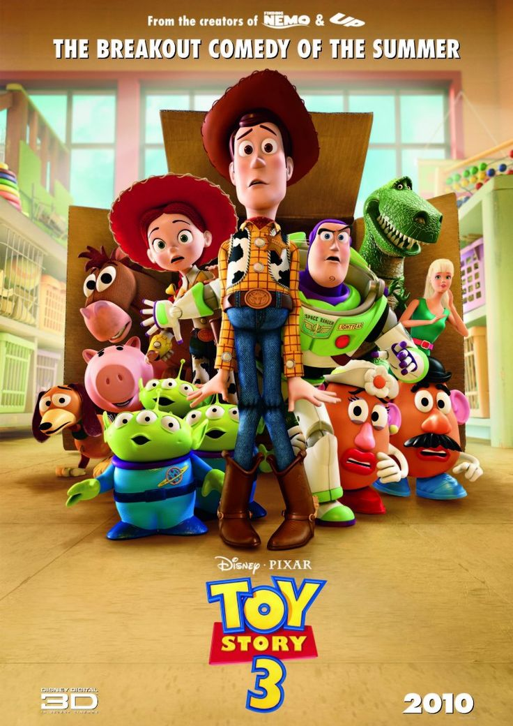 *TOY STORY3, 2010, Poster:  The toys are mistakenly delivered to a day-care center instead of the attic right before Andy leaves for college, + it's up to Woody to convince the other toys that they weren't abandoned + to return home.  Starring: Tom Hanks, Tim Allen, & Joan Cusack.