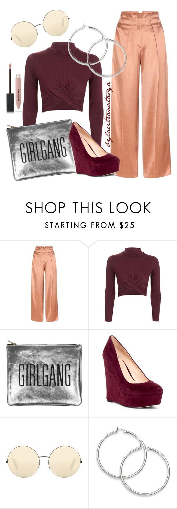 MAROON & SILK by bylacitranatasya on Polyvore featuring Topshop, Edun, Nine West, Sarah Baily, Victoria Beckham and Burberry