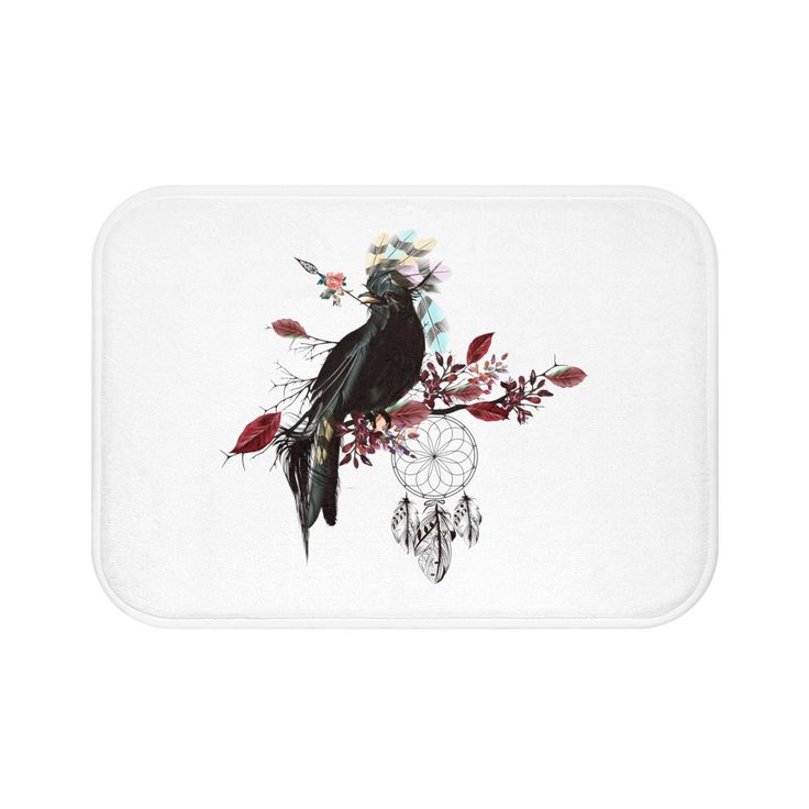 JadeCrate - Black Bird Fly - Bath Mat